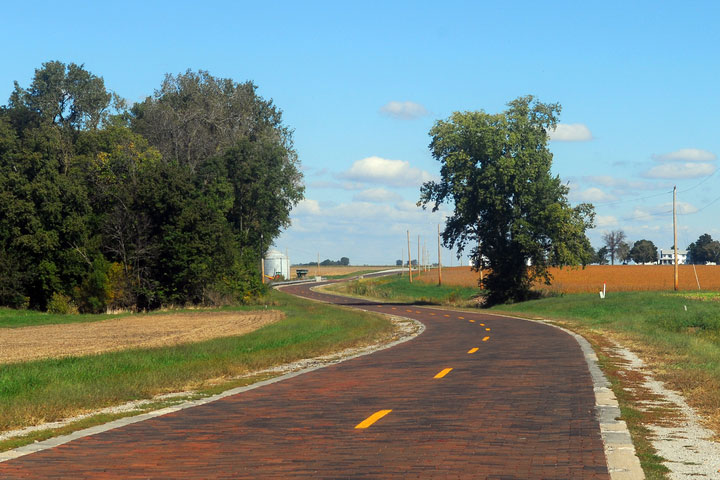 historic brick road in Illinois